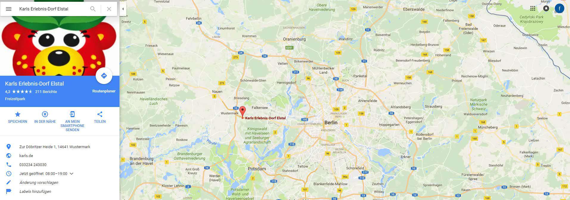 Karls Erdbeerhof Berlin Karte