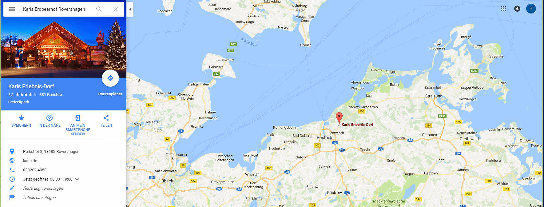 Karls Erdbeerhof Rövershagen Karte